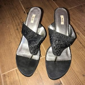 Metro 7 Black Satin & Sparkle Wedge Sandals
